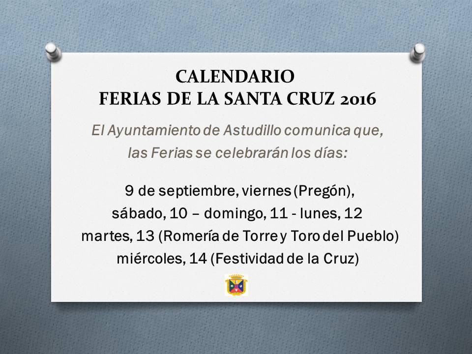 Calendario Ferias Santa Cruz 2016
