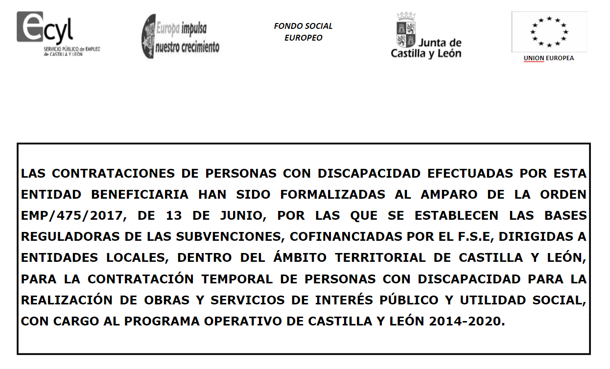 Contratación Personas Discapacitadas Orden EMP/475/2017