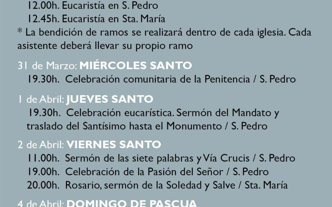 Programa actos litúrgicos Semana Santa 2021